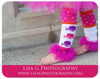 """Girls Ruffle Tutu Leg Warmers Perfect for Photo Props, Birthday, Costume, Dress up,  Fits 12m-6x approx 12"""" long"""