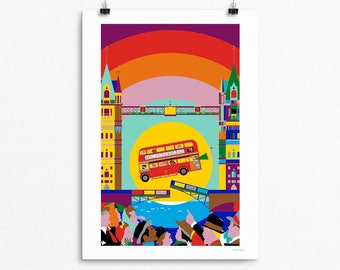 London Bus Illustration - True Story of the Jumping Bus, 1952 - signed print