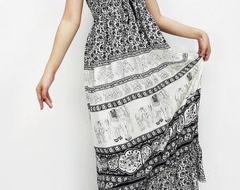 Women Maxi Dress Gypsy Dress Boho Dress Hippie Dress Summer Beach Dress Long Dress Party Dress Clothing Printed Elephant Black (DL41)