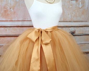 Gold Tulle Skirt Tulle Wedding Skirt Women's Tutu Bridesmaids Skirt Tulle Over Skirt Engagement Photos Bachelorette Tutu