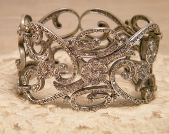 Stunning Vintage Three Panel Sterling Silver and White Sapphire Open Metal Work Bracelet