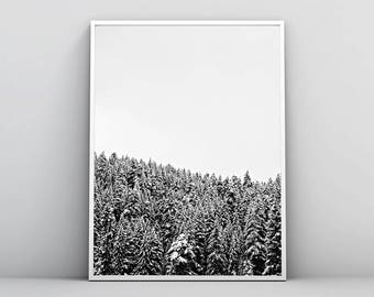 Snowy Forest, Winter Landscape, Scandinavian Print, Woodland Poster, Black & White, Nature Photography, Printable Wall Art, Digital Download