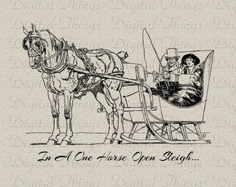Christmas Sleigh and Horse Holiday Decor Wall Decor Art Printable Digital Download for Iron on Transfer Fabric Pillows Tea Towels DT1125
