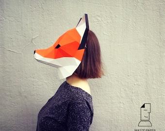 11 - papercraft FOX MASK - printable digital template