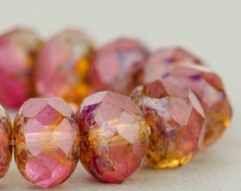 Czech Glass Beads - Czech Glass Rondelles - Fuchsia and Crystal Mix Transparent and Opaline with Picasso Finish - 9x6mm - 25 Beads