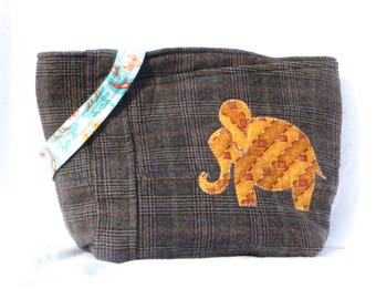 Handmade Wool Purse, Silk Elephant, Italian Wool, Biella Italy
