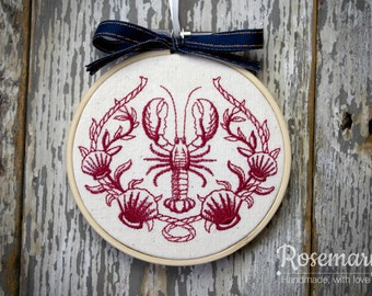 """Embroidered Lobster with Laurel 4"""" or 5"""" Embroidery Hoop"""
