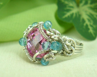 Pink Cubic Zirconia Ring ~ Pink CZ Ring ~ Pink Stone Ring ~ Apatite Ring ~ Wire Wrapped Silver Ring ~ Pink Ring ~ Silver Wire Ring ~ Pink CZ