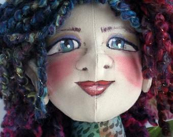 Mermaid Cloth Art Doll, Fantasy Soft Sculpture Doll, Fairy Mermaid Art Doll, OOAK Mermaid Doll, Fantasy Cloth Art Doll