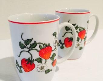 Vintage 1980 Strawberry Mugs / Set of 2 Fitz & Floyd FRAISE DE BOIS Tea Cups Made in Japan