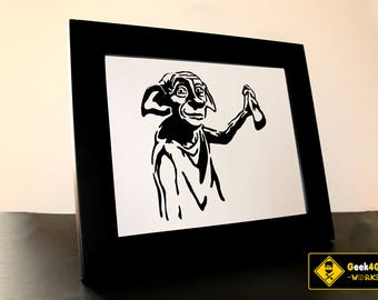 Harry Potter Dobby the House Elf Fine Paper-cut Art Framed.