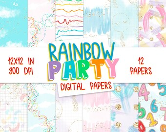 Rainbow Party DIGITAL PAPER Modern Abstract Pink Blue Gold Numbers