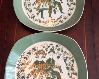 SALE Set of Two beautiful Vintage Sicila Figgio Flint Norway Platters, Scandinavian Platters, Turi Gramstad Oliver. Mid Century 1960's.
