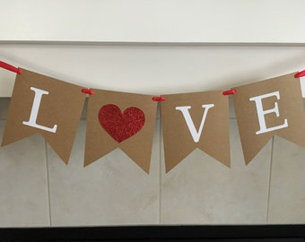 Love Banner, Valentine's Day Banner, Valentine's Day Decoration, Flag Banner, Burlap, Red, Wedding Decoration, Photo Prop, Engagement