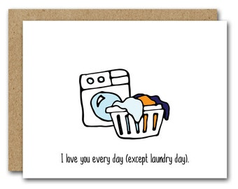 PRINTABLE Funny Love Card, INSTANT DOWNLOAD, Anniversary Card, Valentines Day Card, Boyfriend Card, Husband Card, Laundry, Clothes, Basket