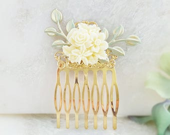 Bridal Hair Accessory Gold - Rose Hair Comb - White Flower Comb - Wedding Hair Comb Ivory - Green Hair Comb Bridesmaid  Gold Leaf Comb H2036