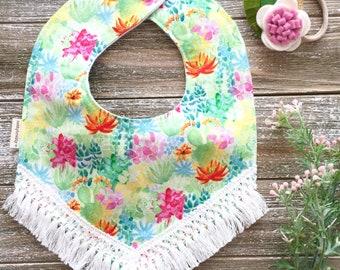 Boho Style Fringe Bib - Baby Girl Bib - Teething Bib - Baby Girl Gift - Southwest Desert Style -Cactus Flowers Bib - Modern Baby Bib