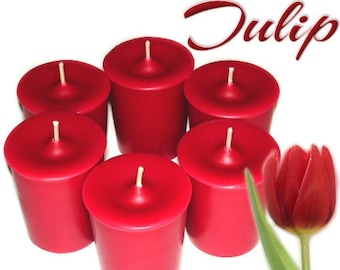 6 Tulip Scented Votive Candles Spring Floral Scent