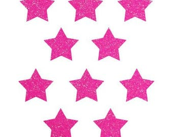 10 stars hot-melt glitter neon pink 15x15mm