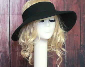 Black Sun Hat Topless, Wide Brim Hat, Black Sun Visor, Boho Hat, Beach Hat, Summer Sun Hat, Sports Hat, Travel Hat