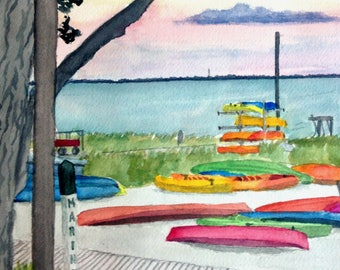 Art Print Fire Island Sunset on the Bay Watercolor