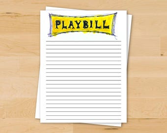 Playbill Stationery | Theatre Gift | Broadway Paper | College Theatre | Printable Stationery
