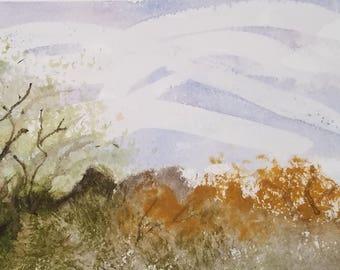 Digital Art Print Original Watercolor Painting Desert Brush