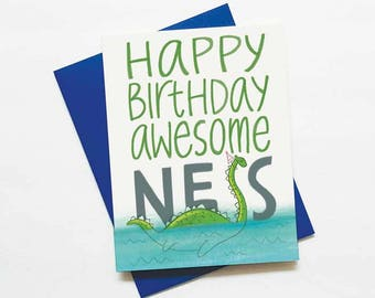 Funny loch ness monster birthday card - Happy Birthday awesome-ness