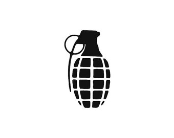 Grenade Custom Die Cut Vinyl Decal Sticker - Choose your Color and Size