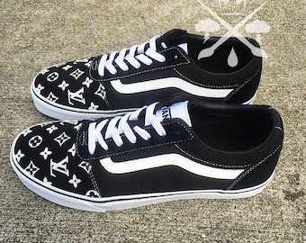 Black Louis Vuitton Luxury Designer Brand Custom Old Skool Vans Classics Sneaker