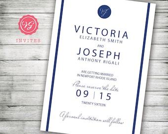 Navy Blue Save The Date Announcement - Inexpensive Wedding Invitation Designs - Designer Wedding Invitations