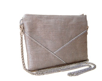 Prism evening clutch bag wedding purse lin lamé silver silver graphic lines - after the beach