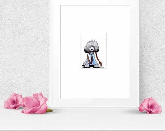 POODLE Dog Art Silver Gray ACEO Original Drawing