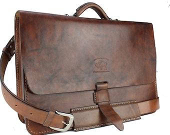 "Rustic Distressed Leather Messenger Bag  Briefcase Laptop Satchel fits Macbook Pro 16"" 296"
