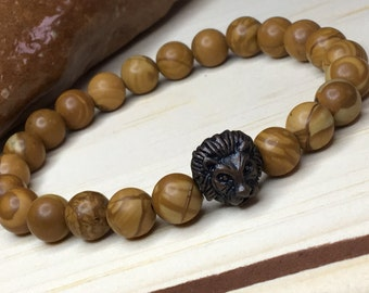 Mens Lion Bracelet/Natural Tiger Jasper/ Brown Round Beads/Jasper Lion Bracelet/Leo Bracelet/Gift for Him/Mens Tiger Beads Leo/Lion King Leo
