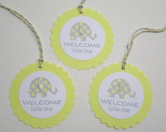 10 Baby Shower Tags for Favors - Baby Elephant Tags - Yellow Gray Baby Shower Tags - Gift Tags - Baby Tags - Thank You Tags