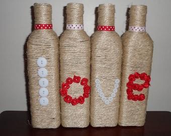 Twine Wrapped Love Bottles, Wedding decor /Home decor