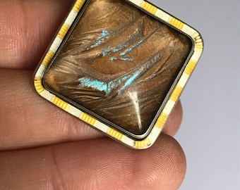 Vintage 1920s morpho butterfly wing sterling silver brooch with art deco yellow and white enamelled edge