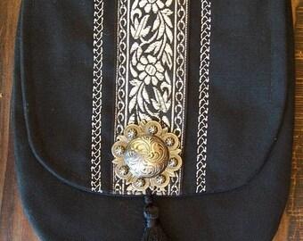 Silver Floral Belt Pouch