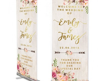 White Wood/floral Wedding Welcome 6ft  banner, Wedding Welcome Sign, Shabby chic Wedding, Wedding Pull Up, Personalised Wedding,