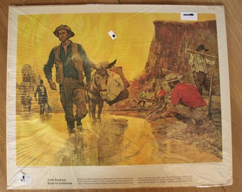 Great Moments in American History Collectible Posters / Prints by Humble Oil and Refining Co. 'Gold Seekers Rush to California'