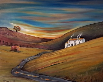 The Dwelling - original mixed media landscape painting on canvas