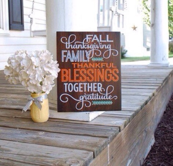 Fall Wood Sign. Autumn Home Decor Thanksgiving Blessings