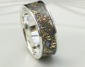 Gold Chaos with Silver Edges - Sterling Silver and 18k Gold Mens Wedding Band