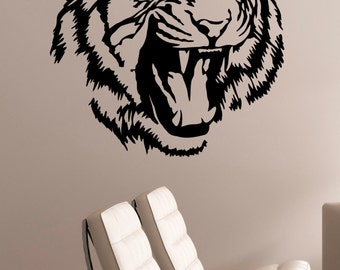 Tiger Wall Decal Removable Vinyl Sticker Wildcat Wildlife Art Safari Animal Decorations for Home Living Dorm Room Bedroom Office Decor tgr7