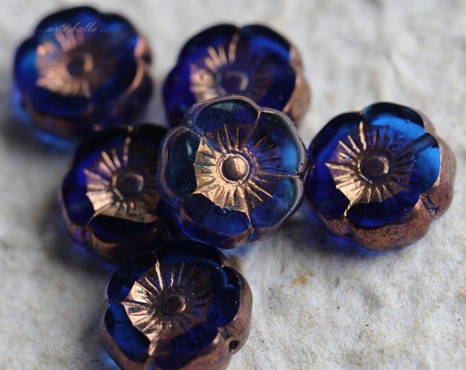 TROPICAL PANSY .. 6 Picasso Czech Glass Flower Beads 12mm (5763-6)