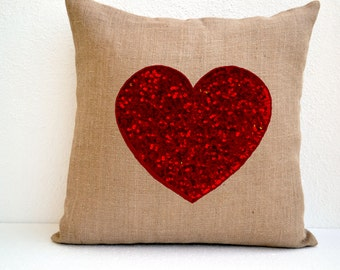 Burlap Heart Pillow Red Sequin, Heart Pillow, Wedding Throw Pillow Cover, Anniversary Gift, Birthday Gift, Gift for Couple, Mothers Day Gift