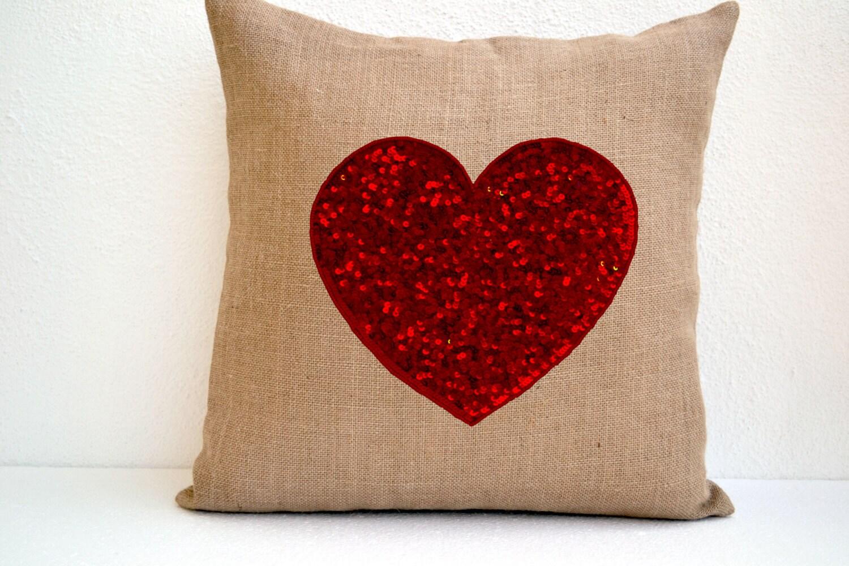 Burlap Heart Pillow Red Sequin Decorative Pillow Cushion