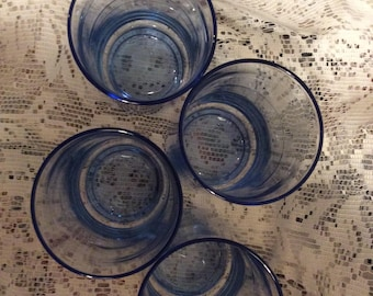 1980s Beautiful Blue Drinking Glasses DISCOVERED A 5th Matching GLASS Since Taking These Photos Now Set Of 5 Clear Graded BlueTintTumblers