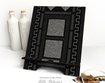 "iPad Stand Large, ""Mud Cloth No.1 "" by I. Abolina, African iPad Mini Stand, Docking Stand Samsung, Smartphone Stand, Cookbook Stand 10."